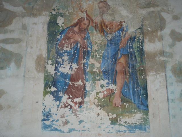 Peinture murale sur le baptème de Saint Gaudérique (ou Gaudéric)